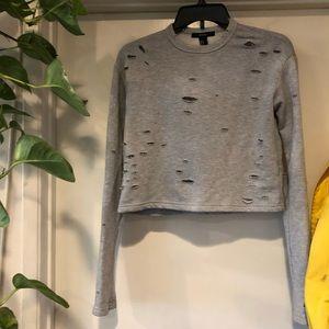 distressed grey crop sweater